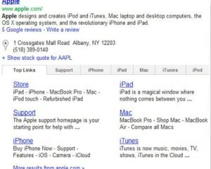 Tabbed sitelinks op zoekresultatenpagina Google