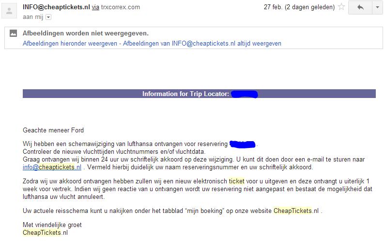 voorbeeld slechte e-mail cheaptickets.nl