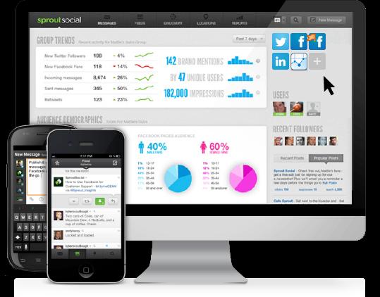 Beeldscherm en telefoons met Sprout Social