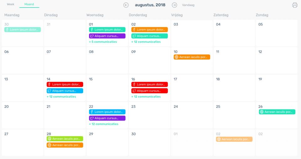 Voorbeeld Contentkalender
