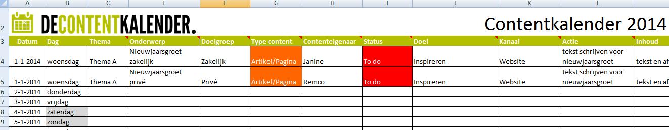 Voorbeeld van een contentkalender