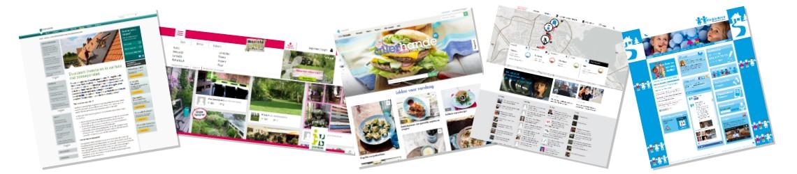 screenshots van 5 contentmarketing websites