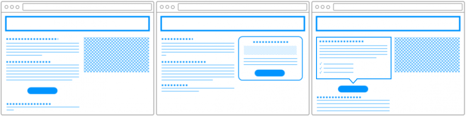 Call-to-actions die effectief gebruik maken van het paginadesign door witruimte, kaders of visuele cues.