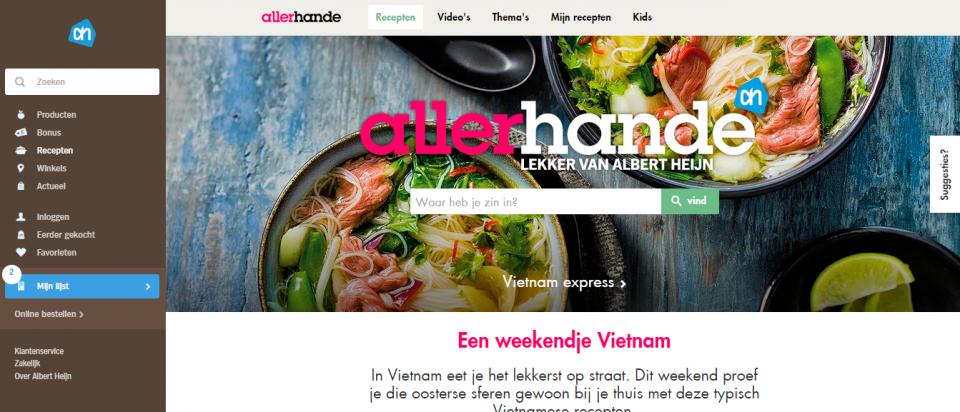 Screenshot van Allerhande.nl
