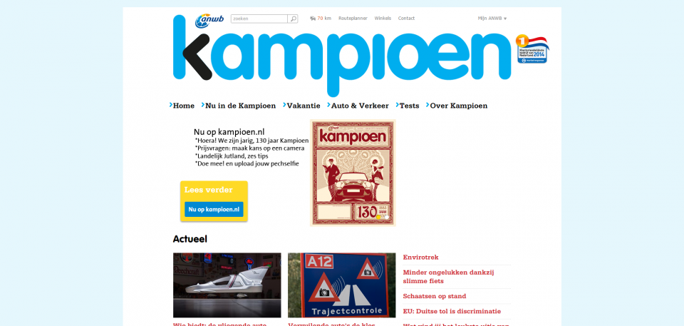 Screenshot van Kampioen.nl