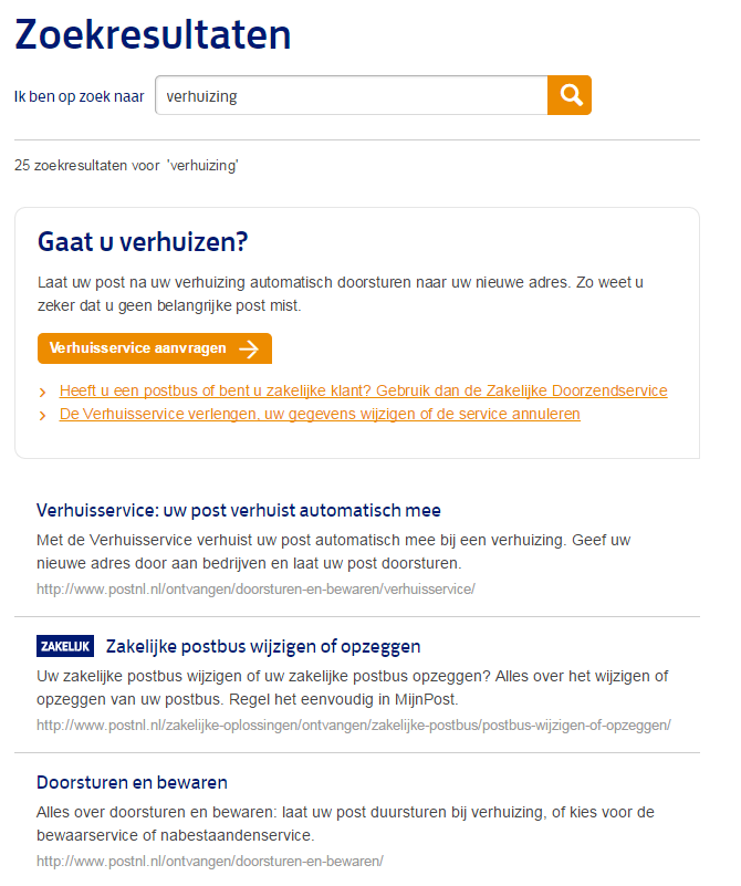 Een interne zoekresultatenpagina (SERP) van PostNL voor het zoekwoord verhuizing.