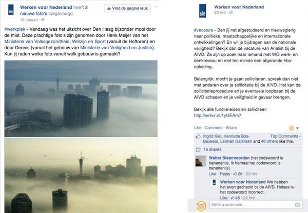 Werken voor Nederland social media voorbeeld
