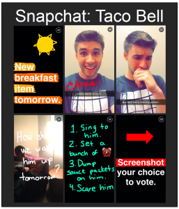 Screenshot van Snapchat 'Snap' van Taco Bell.