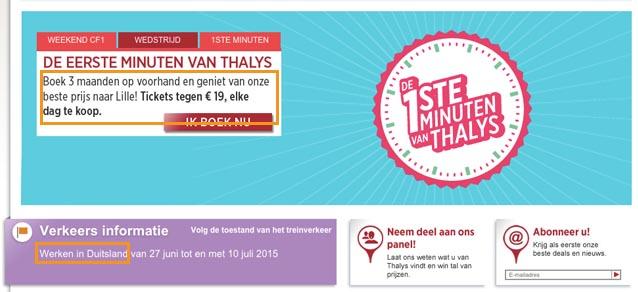 De Nederlandse Thalys-site met vlaamse tekst