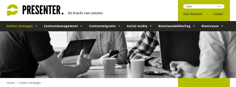 Header en navigatie op Presenter.nl