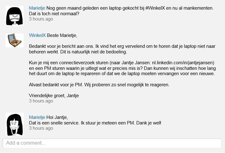 Webcare-voorbeeld Marietje