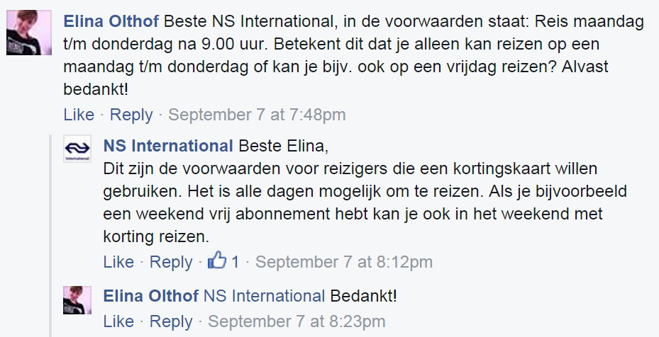 Een webcare-voorbeeld van NS International.