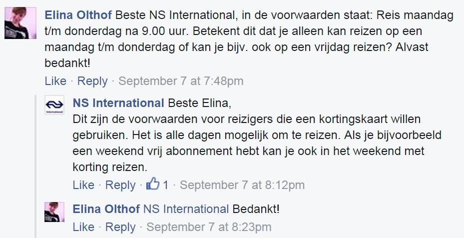 Een webcare-voorbeeld van NS International.