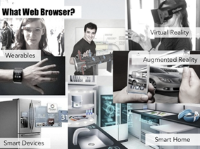 Slide uit presentatie van Theresa Grotendorst met titel 'What Web Browser?' met op de slide foto's van allerlei devices en tekst 'Wearables, Virtual Reality, Augmented Reality, Smart Devices, Smart Home