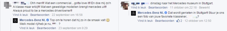 Screenshot Mercedes-Benz interactie Facebook