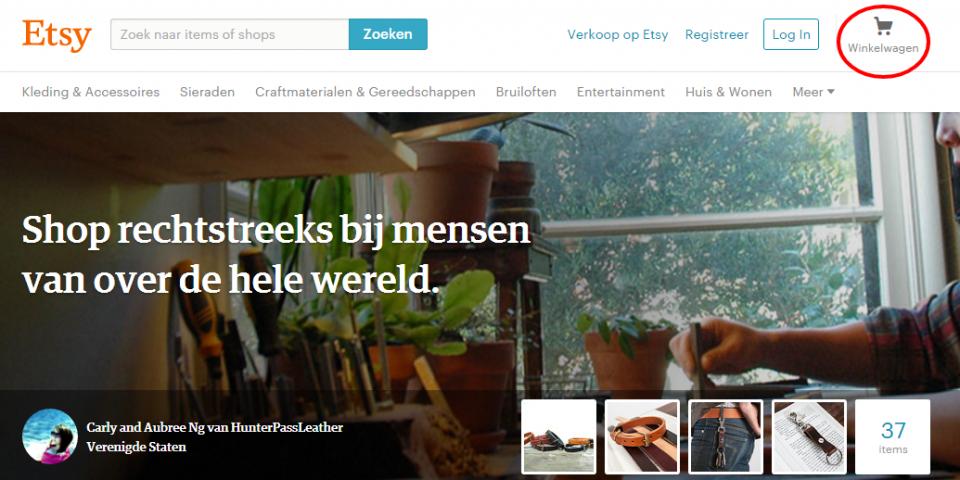 Conversietips voor webwinkels: Winkelwagentje bij Etsy