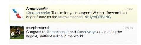 Een geautomatiseerde auto-reply van American Airlines, niet het beste idee.
