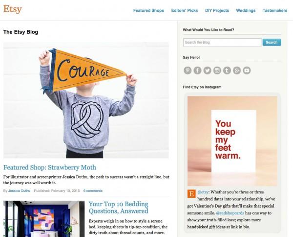 Het blog van Etsy: waardepropositie contentmarketing