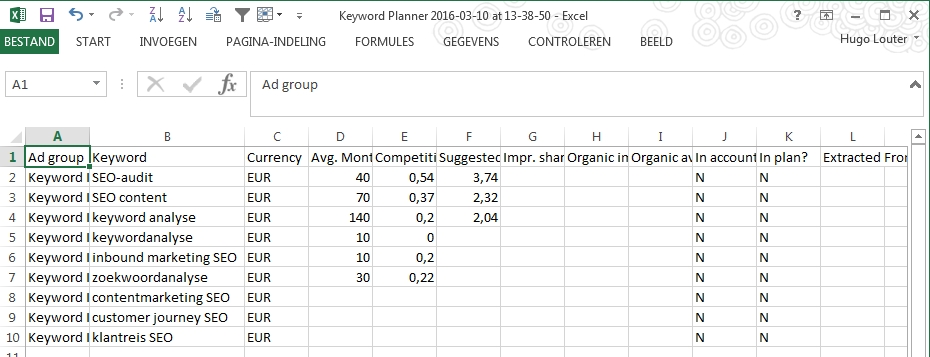 export Adwords Keyword Planner