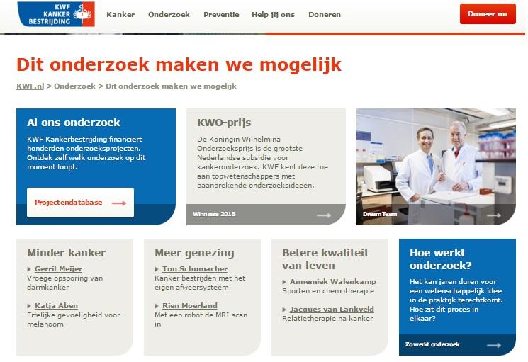 Pagina van het KWF over de onderzoeken die mogelijk worden gemaakt