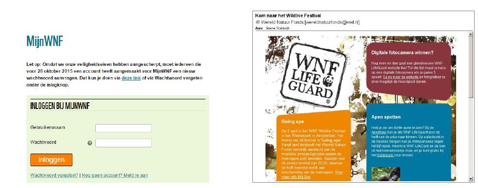 Een voorbeeld van een persoonlijke pagina van het WNF