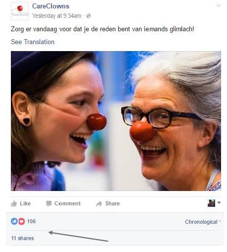 Facebookpost van CareClowns als voorbeeld voor de awareness-fase