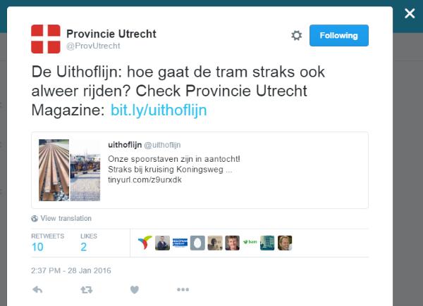 Tweet van de provincie Utrecht waarin opnieuw wordt verwezen naar content over de Uithoflijn