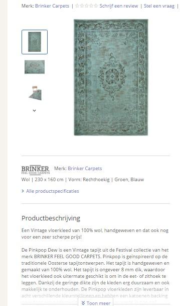 Producttekst Bol.com over karpetten