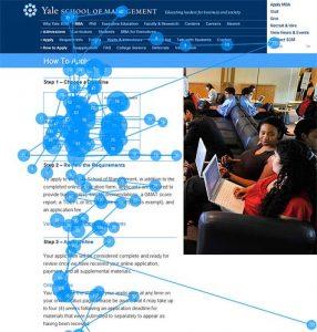 Afbeelding uit onderzoek van NNgroup. De afbeelding toont aan dat gebruikers niet naar afbeeldingen kijken die bedoeld zijn om pagina's 'op te leuken'.