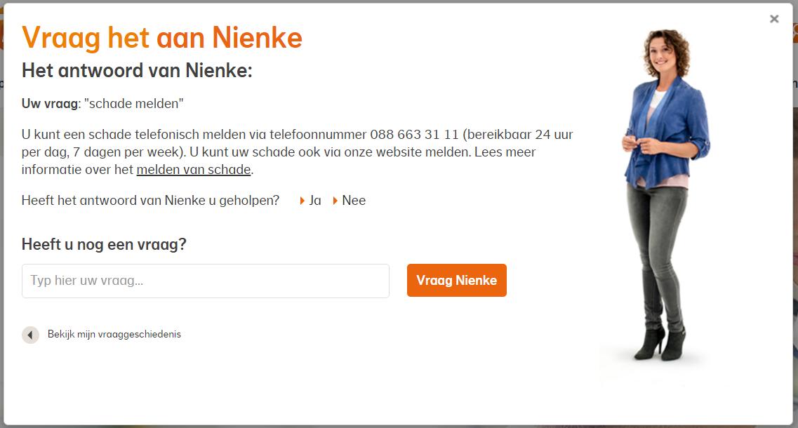 Antwoord van Virtuele Assistant op nationalenederlanden.nl