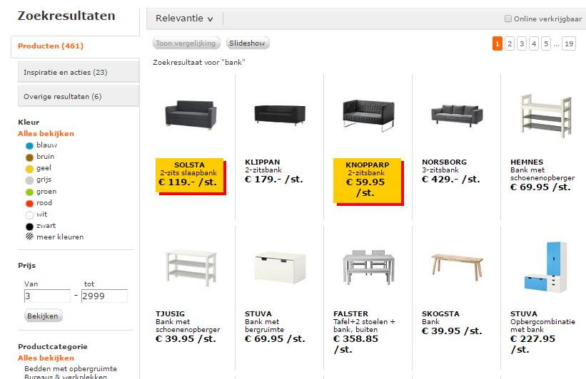 Facetnavigatie op zoekresultatenpagina IKEA