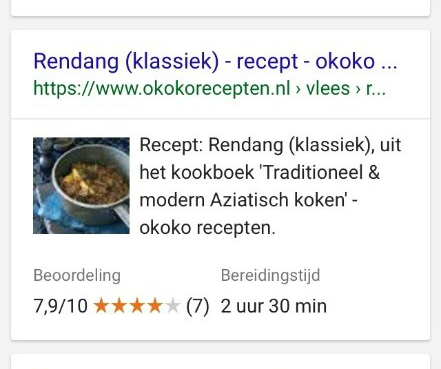Recept rendang in Google zoekresultaten met rich snippet