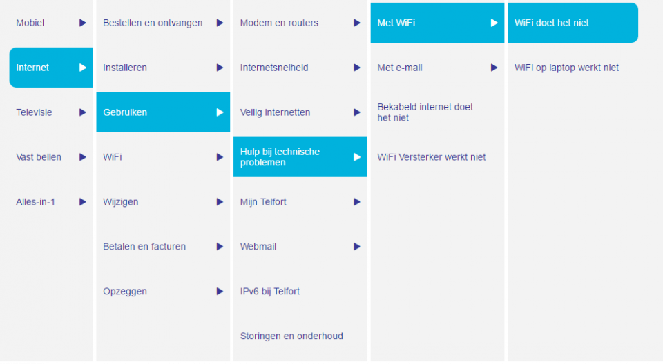 Screenshot van Telfort user guided search