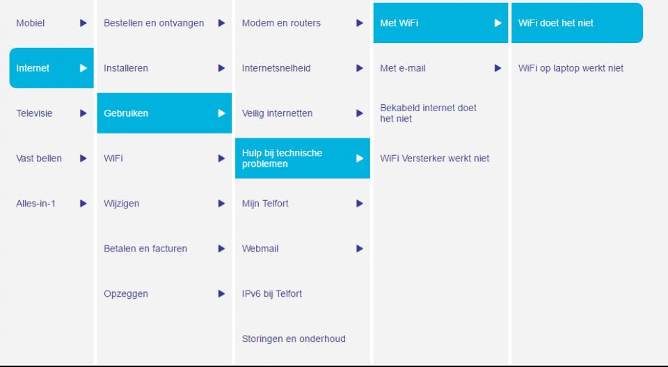 Screenshot van Telfort user guided search