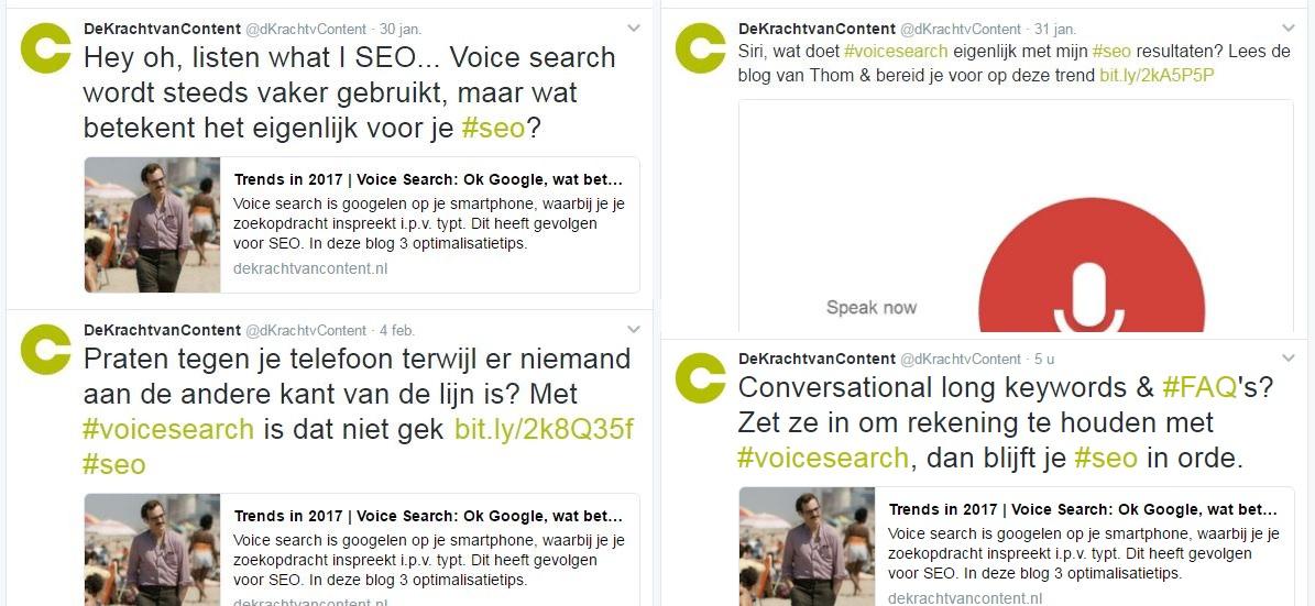 Overzicht van meerdere twitterberichten met dezelfde link