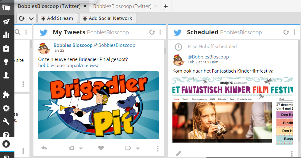 screenshot van Hootsuite voor je sociale media planning