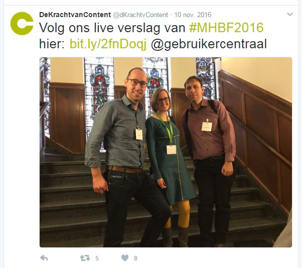 Weergave van een tweet over het live verslag van het Maak Het Bruikbaar Festival