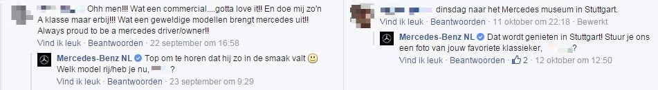 Facebookreacties van Mercedes-Benz