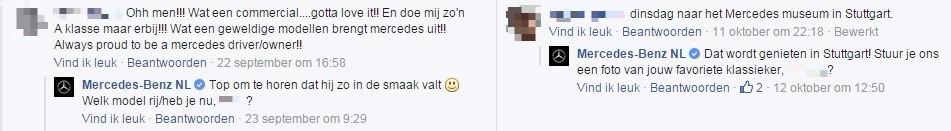 Facebookreacties van Mercedes-Benz