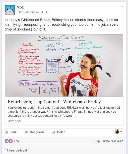 Moz Facebookpost
