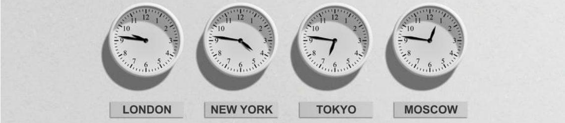 Klokken met tijden van verschillende tijdzones