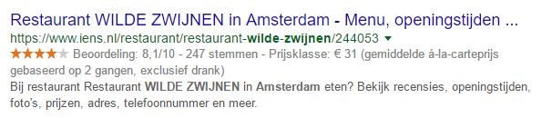 Restaurant Wilde Zwijnen in Amsterdam op de zoekresultatenpagina van Google.