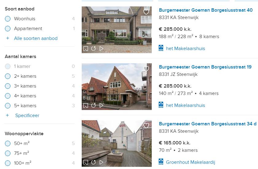 : Uitsnede van zoekresultaten naar woningen die te koop zijn op Funda.nl. In de linkerkolom kun je door opties aan te klikken filteren op soort aanbod, aantal kamers en woonoppervlakte.