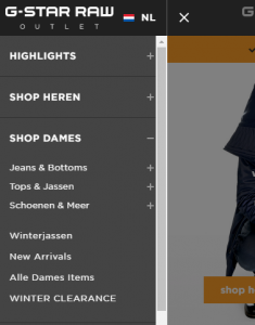 Navigatiemenu van G-Star Raw met daarin het onderdeel 'Shop Dames' uitgeklapt met daaronder de navigatie-items Jeans & Bottoms, Tops & Jassen, Schoenen & Meer, Winterjassen, New Arrivals, Alle Dames Items en Winter Clearance.