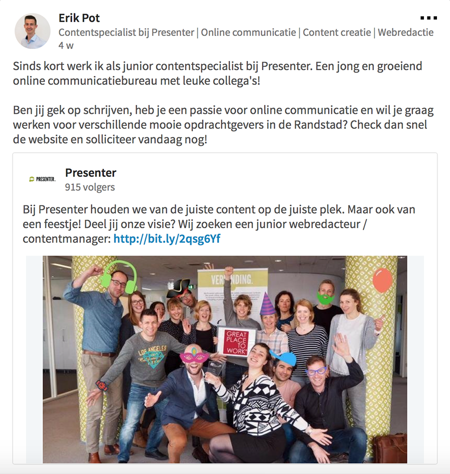 LinkedIn post over vacature
