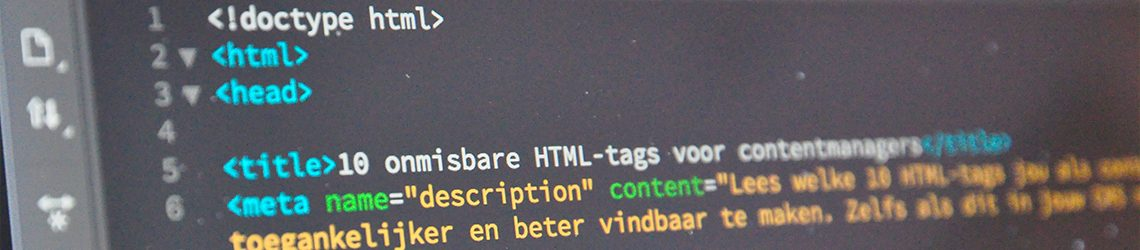Een voorbeeld van html-tags gebruikt op deze blogpagina