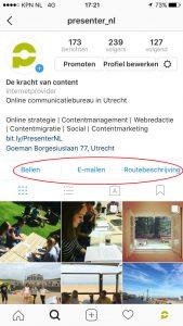 Contactknoppen Instagram