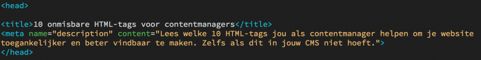 Een voorbeeld van een head-tag gevuld met de html-tags voor title en metadescription