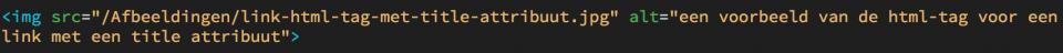 Een voorbeeld van de html-tag voor een afbeelding met alt-attribuut