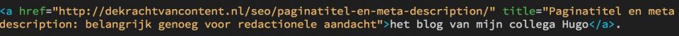 Een voorbeeld van een link html-tag met title attribuut